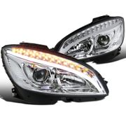 08-11 MBenz W204 C-Class LED DRL / Signal Projector Headlights - Chrome