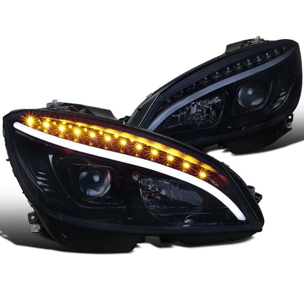 08-11 MBenz W204 C-Class LED DRL / Signal Projector Headlights - Gloss Black / Smoked