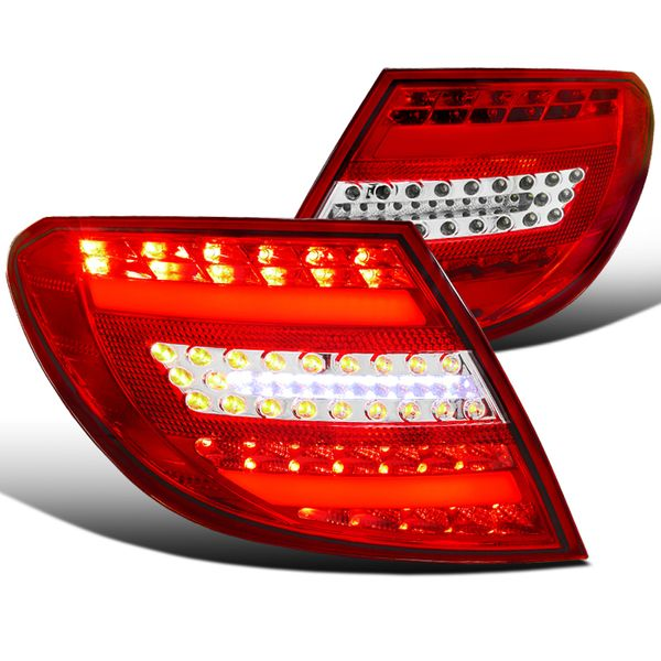 2008-2011 Mercedes Benz C-Class C300 C350 Euro Style LED Tail Lights - Red / Clear