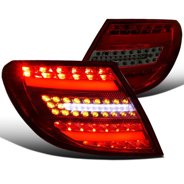 2008-2011 Mercedes Benz C-Class C300 C350 Euro Style LED Tail Lights - Red / Smoked