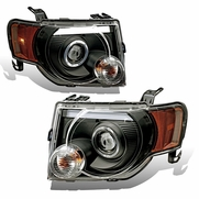 08-12 Ford Escape LED DRL Halo Projector Headlights - Black