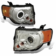08-12 Ford Escape LED DRL Halo Projector Headlights - Chrome