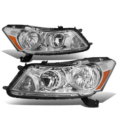08-12 Honda Accord 4dr Sedan Crystal Headlights - Chrome Amber