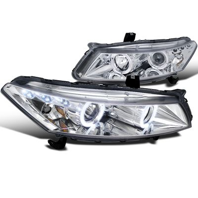 Spec-D 08-12 Honda Accord Coupe Dual Halo & LED Projector Headlights - Chrome