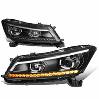 08-12 Honda Accord LED DRL+Sequential Turn Signal Projector Headlights - Black