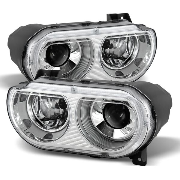 08-14 Dodge Challenger [OEM HID Model] Replacement Projector Headlights - Chrome