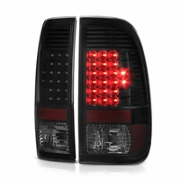 08-16 Ford F250 350 450 550 Super Duty Full LED Tail Lights - Black / Smoked