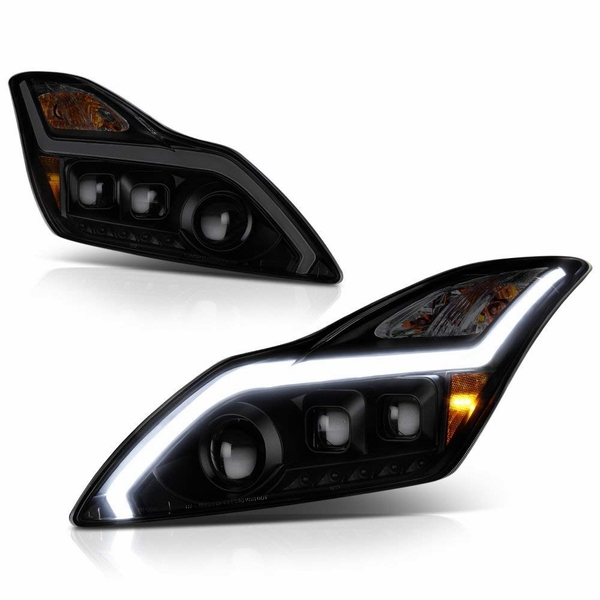 08-15 Infiniti G37/Q60 Coupe LED Sequential Signal DRL Projector Headlights - Black Smoked