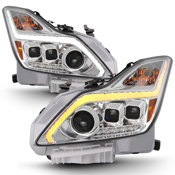 08-15 Infiniti G37/Q60 Coupe LED Sequential Signal DRL Projector Headlights - Chrome