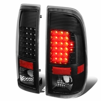 08-16 Ford F250/F350/F450/F550 Super Duty Pair of LED Tail Brake Lights (Black Housing Clear Lens)