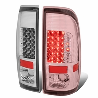 08-16 Ford F250/F350/F450/F550 Super Duty Pair of LED Tail Brake Lights (Chrome Housing Clear Lens)