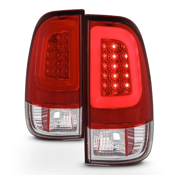 08-16 Ford F250-F550 Super Duty 3D-Style LED Tube Tail Lights - Red Clear
