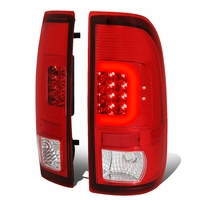 08-16 Ford F250-F550 Super Duty C-Tube LED Tail Lights - Red / Clear