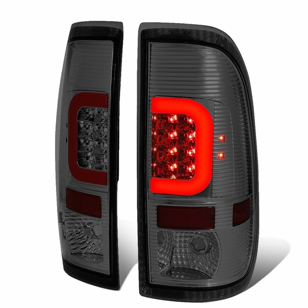 08-16 Ford F250-F550 Super Duty Red C-Tube LED Tail Lights - Smoked