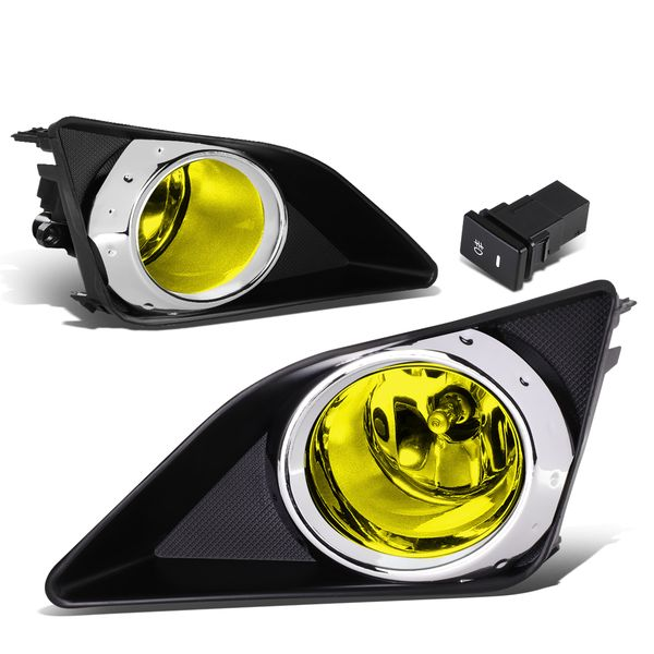 09-10 Toyota Corolla Yellow Lens Chrome Ring Oe Driving Pair Fog Light Lamp+Switch
