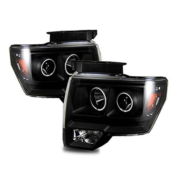 09-14 Ford F150 Pickup LED Halo & LED Euro Projector Headlights - Black