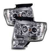 09-14 Ford F150 Pickup CCFL Halo & LED Euro Projector Headlights - Chrome