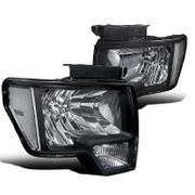 09-14 Ford F150 Pickup Euro Style Crystal Headlights - Black