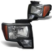 09-14 Ford F150 Pickup OEM Black Housing Crystal Headlights