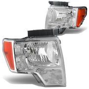 09-14 Ford F150 Pickup OEM Chrome Housing Crystal Headlights