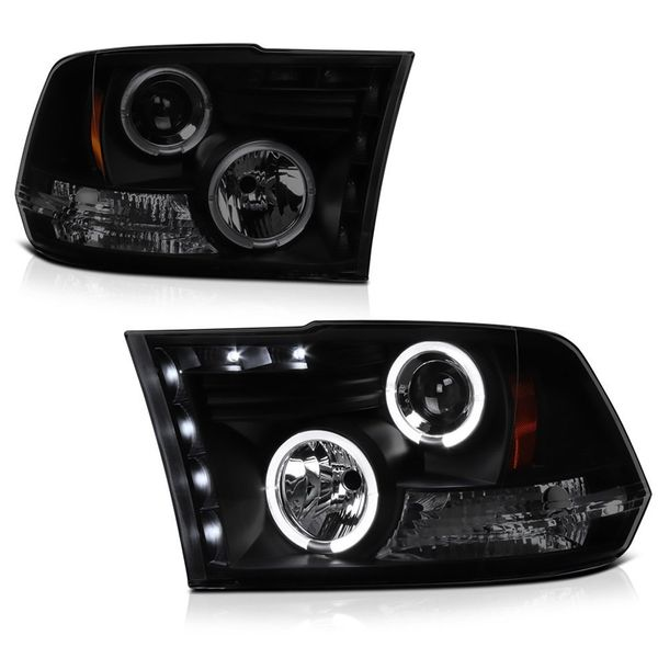 Spyder® 2009-2018 Dodge Ram Halo & LED Projector Headlights- Black Smoked Lens