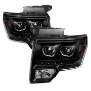 09-14 Ford F-150 SMD LED Angel Eye Halo Projector Headlights - Black