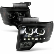 09-14 Ford F-150 SMD LED Angel Eye Halo Projector Headlights - Black Smoked