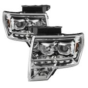 09-14 Ford F-150 SMD LED Angel Eye Halo Projector Headlights - Chrome
