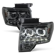 09-14 Ford F-150 SMD LED Angel Eye Halo Projector Headlights - Smoked