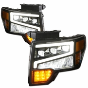 09-14 Ford F150 Full LED Sequential Tri Projector Headlights - Black
