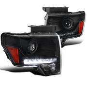 09-14 Ford F150 LED DRL Strip Projector Headlights - Black
