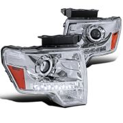 09-14 Ford F150 LED DRL Strip Projector Headlights - Chrome