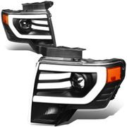 09-14 Ford F150 LED DRL Tube Projector Headlights - Black  Amber