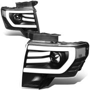 09-14 Ford F150 LED DRL Tube Projector Headlights - Black / Clear