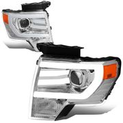 09-14 Ford F150 LED DRL Tube Projector Headlights - Chrome  Amber