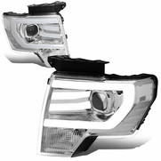 09-14 Ford F150 LED DRL Tube Projector Headlights - Chrome / Clear