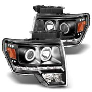 09-14 Ford F150 LED Dual Halo Projector Headlights - Black