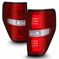 09-14 Ford F150 LED Tube Tail Lights - Red Clear
