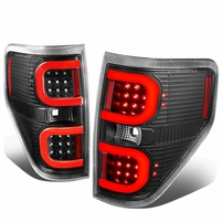 09-14 Ford F150 Left + Right Dual RED LED C-Bar Tail Lights Brake Lamps (Black / Clear)