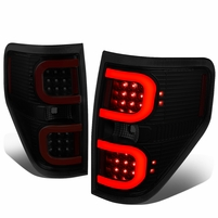 09-14 Ford F150 Left + Right Dual RED LED C-Bar Tail Lights Brake Lamps (Black / Smoked)