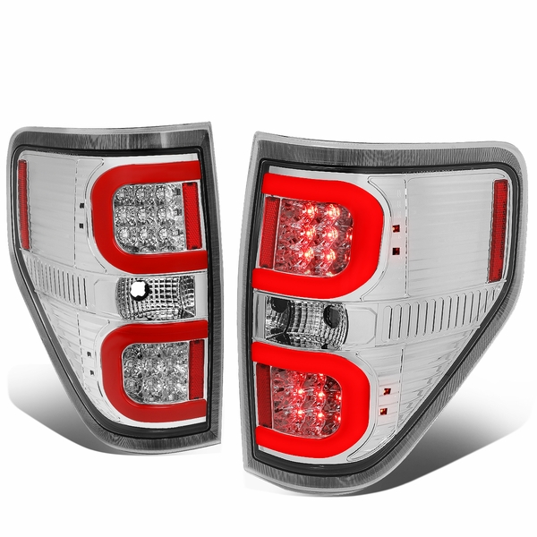 09-14 Ford F150 Left + Right Dual RED LED C-Bar Tail Lights Brake Lamps (Chrome / Clear)