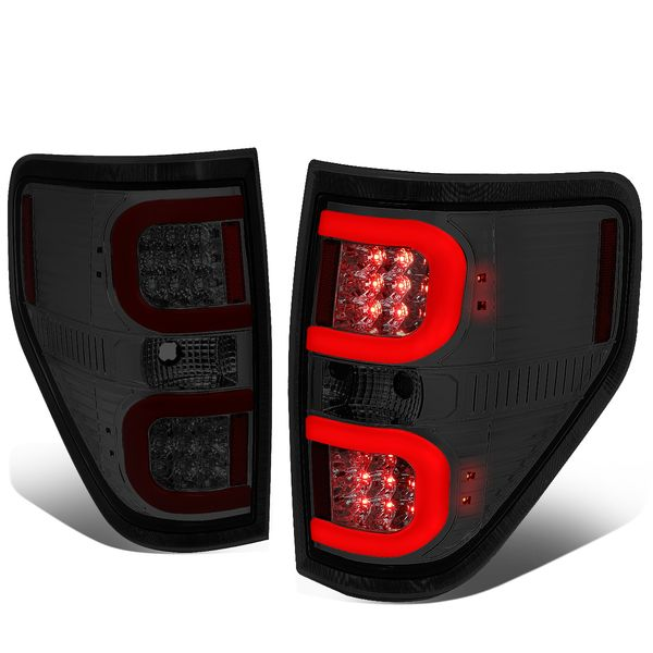 09-14 Ford F150 Left + Right Dual RED LED C-Bar Tail Lights Brake Lamps (Chrome / Smoked)