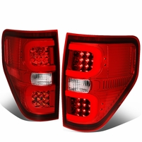 09-14 Ford F150 Left + Right Dual RED LED C-Bar Tail Lights Brake Lamps (Red / Clear)