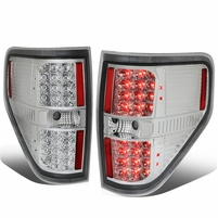 09-14 Ford F150 Pair Left + Right Full LED Tail Lights Brake Lamps (Chrome / Clear)