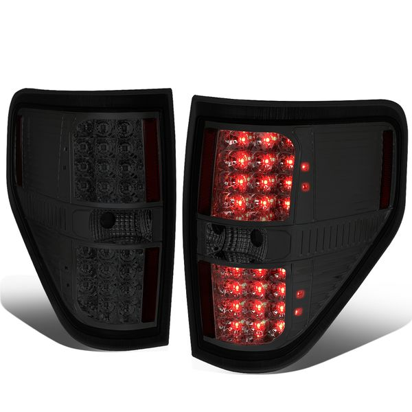 09-14 Ford F150 Pair Left + Right Full LED Tail Lights Brake Lamps (Chrome / Smoked)