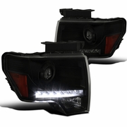 09-14 Ford F150 Pickup Black Smoke LED DRL Strip Projector Headlights