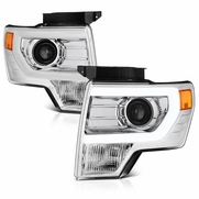 09-14 Ford F150 [Raptor Style] LED DRL Projector Headlights - Chrome