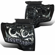 09-14 Ford F150 Smoke Lens Tinted LED U-Ring Halo Projector Headlights