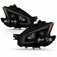 09-14 Nissan Maxima [Halogen Models] LED DRL Projector Headlights - Black / Smoked