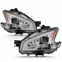09-14 Nissan Maxima [Halogen Models] LED DRL Projector Headlights - Chrome / Clear